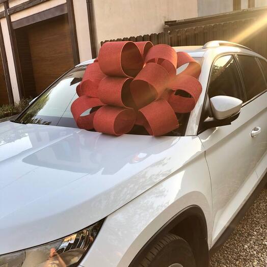 Бант на машину красный 90 см