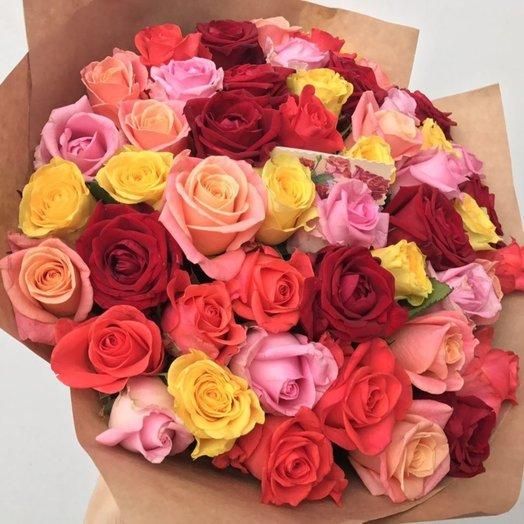 51 роза МИКС 40см : букеты цветов на заказ Flowwow