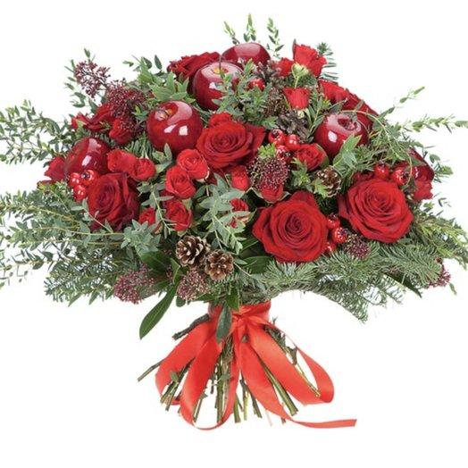 Новогодний букет Поздравление: букеты цветов на заказ Flowwow