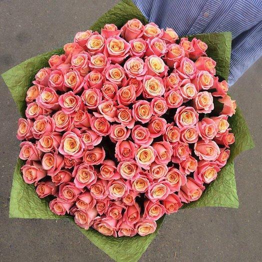 101 роза Мисс Пигги: букеты цветов на заказ Flowwow