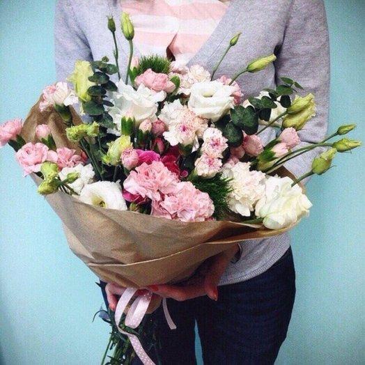 Букет из эустомы и диантусов: букеты цветов на заказ Flowwow