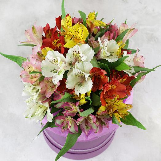 Композиция из разноцветных альстромерий в шляпной коробке: букеты цветов на заказ Flowwow