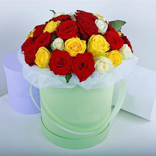Коробка из 31-ой розы микс