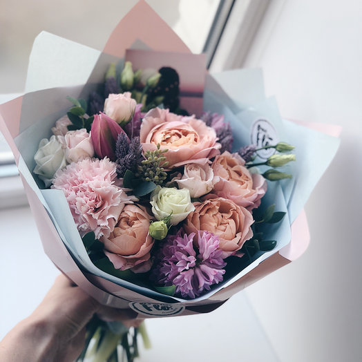 Букет mini с пионовидными розами : букеты цветов на заказ Flowwow
