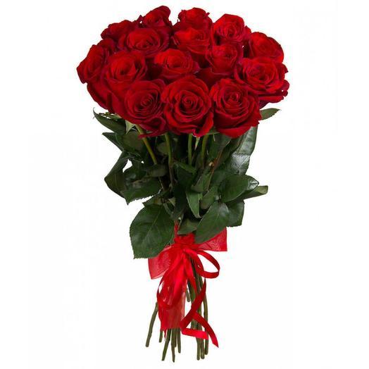 Букет из 15 красных роз с лентой: букеты цветов на заказ Flowwow