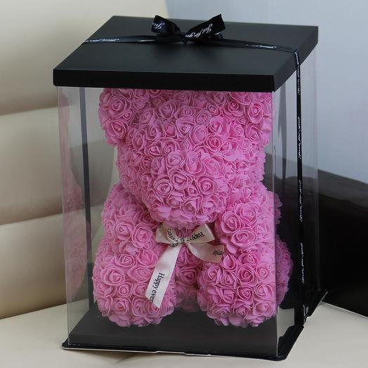 Мишка из роз «Нежный розовый»: букеты цветов на заказ Flowwow