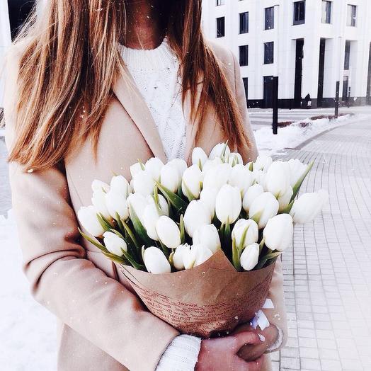 Тюльпаны белые 51: букеты цветов на заказ Flowwow