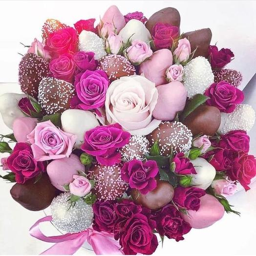 Клубничный букет «Прелесть»: букеты цветов на заказ Flowwow