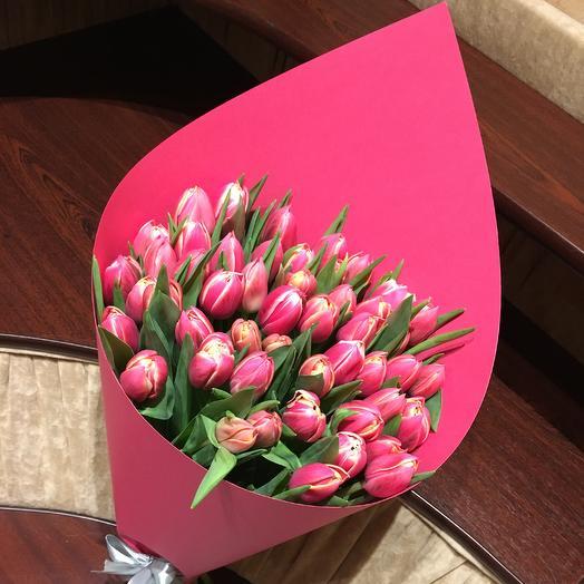 Монобукет тюльпанов сорта Коламбус: букеты цветов на заказ Flowwow