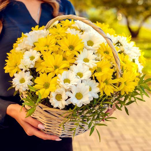 Ромашки в корзине стандарт: букеты цветов на заказ Flowwow