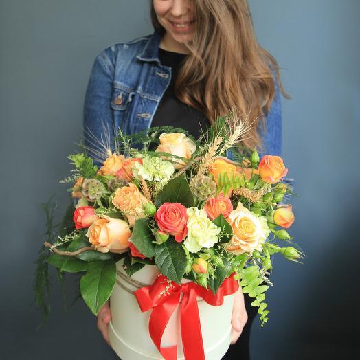 Рыжее лето в коробке: букеты цветов на заказ Flowwow