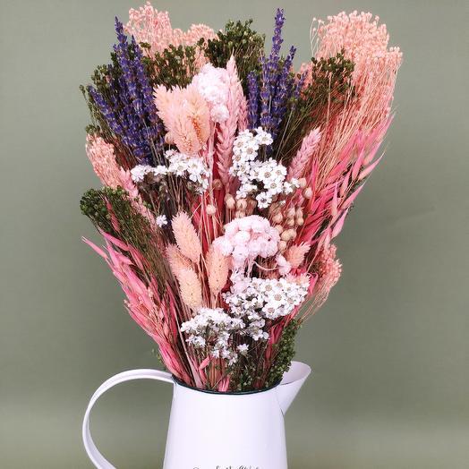 Букет из сухоцветов в металлической лейке: букеты цветов на заказ Flowwow