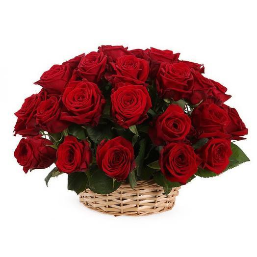 "Корзина из 25 красных роз ""Престиж"": букеты цветов на заказ Flowwow"