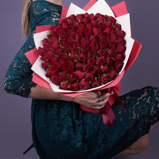 51 небольшая красная роза 40 см