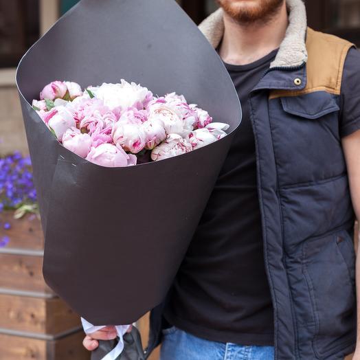 Пионы розовые 19 штук: букеты цветов на заказ Flowwow