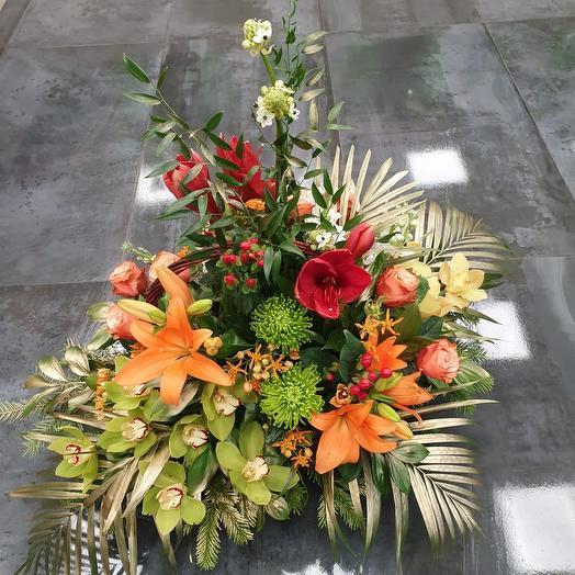 "Elegant basket of flowers ""Dance of passion"": flowers to order Flowwow"