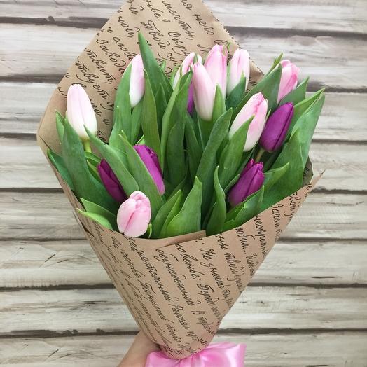 15 Тюльпанов в крафте: букеты цветов на заказ Flowwow