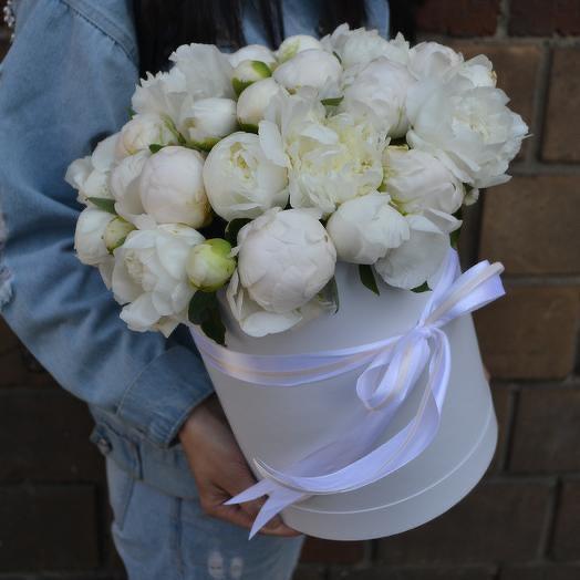 Белые пионы в шляпной коробке 35 Шт: букеты цветов на заказ Flowwow