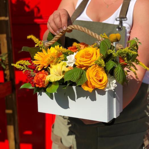 Ящик в желто оранжевой гамме 30 см