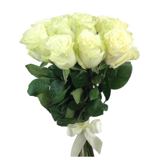 Охапка 11 белых роз Мондиаль 60 см