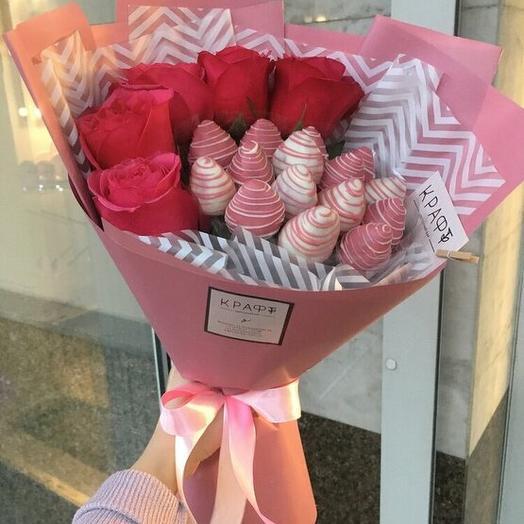 Клубничный букет+5 роз