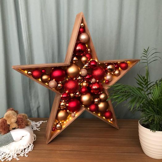 Новогодняя звезда красная бронза темный дуб