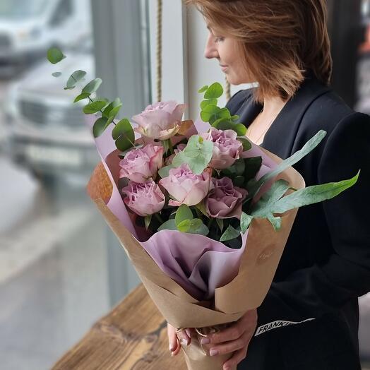 Букет Роз и Эвкалипта