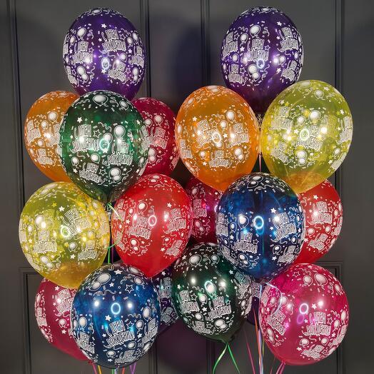 Воздушные разноцветные шарики кристалл С днем рождения! 20 шт