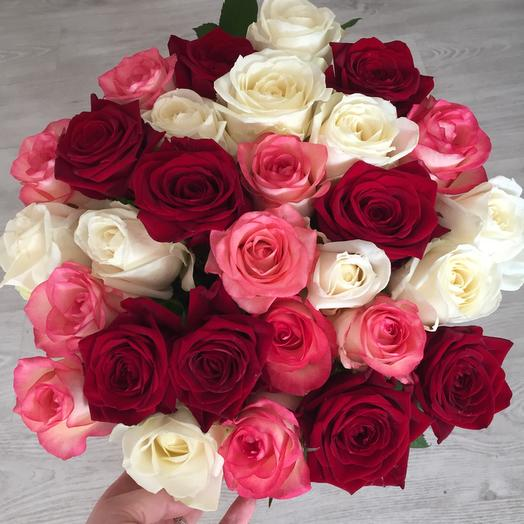 Bouquet of 29 mixed local roses 60 cm: flowers to order Flowwow