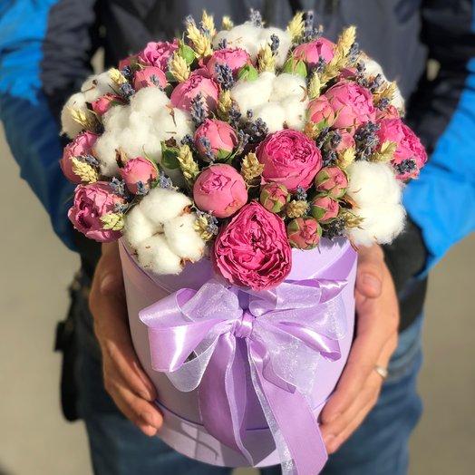 Коробки с цветами. Розы. Хлопок, Лаванда N173