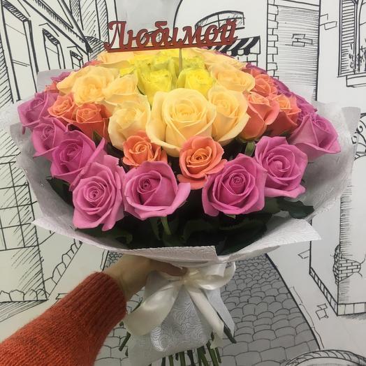 Букет из 51 розы «Радуга»: букеты цветов на заказ Flowwow
