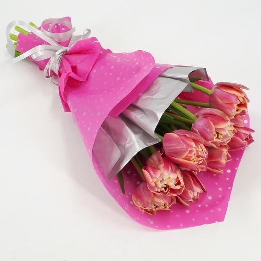 11 двухцветных пионовидных тюльпанов