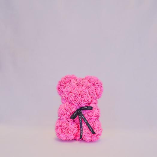 Мишка из роз RozaRose Розовый - 25 см