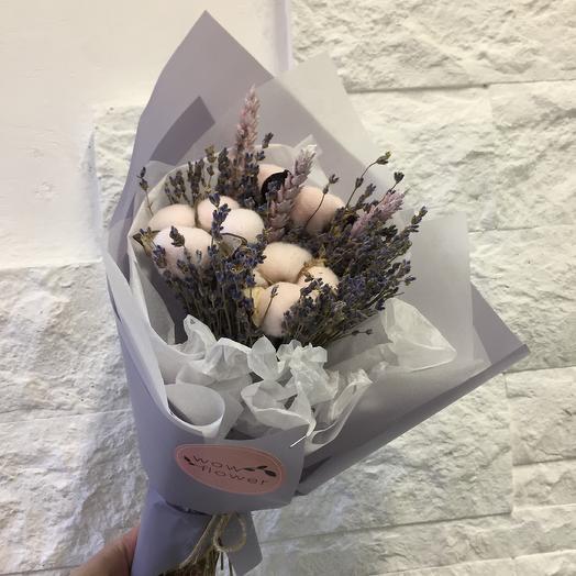 Интерьерный букет с лавандой и хлопком: букеты цветов на заказ Flowwow