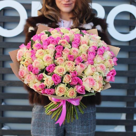 Букет из 101 розы нежный
