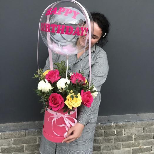 Коробка «с днём рождения!»: букеты цветов на заказ Flowwow