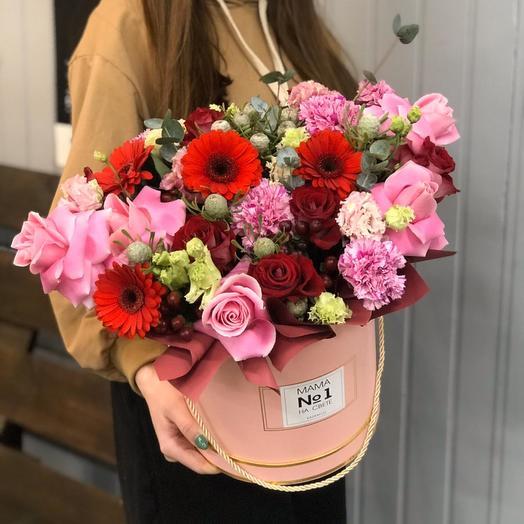 "Шляпная цветочная коробка ""С любовью маме"""
