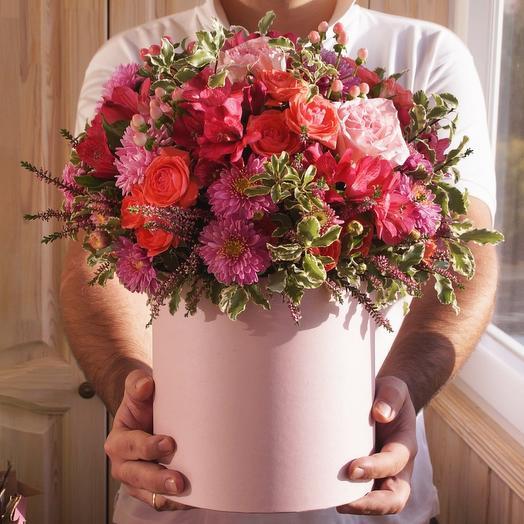 Цветы в коробке Розовые грёзы