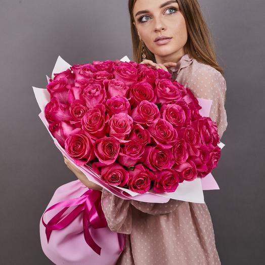 51 роза Pink Floyd 60 см., Эквадор, Premium