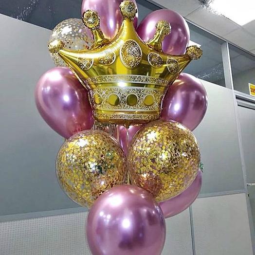 Фонтан с короной и шарами хром
