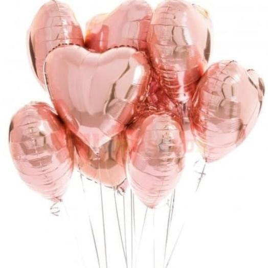 Шары фольгированные сердца розовое золото