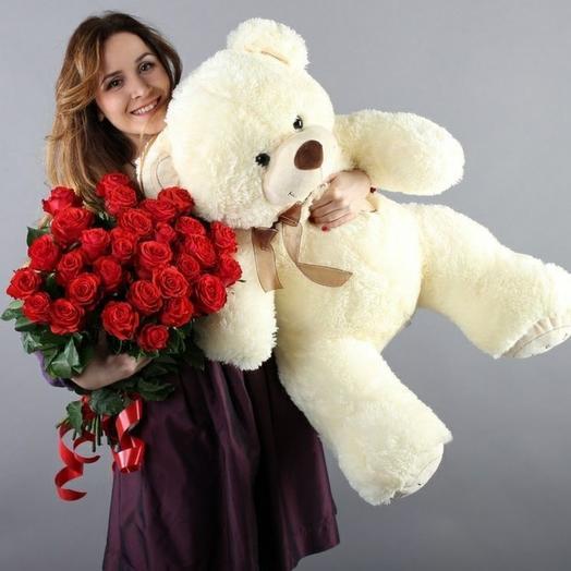 Розы и мишка XXL