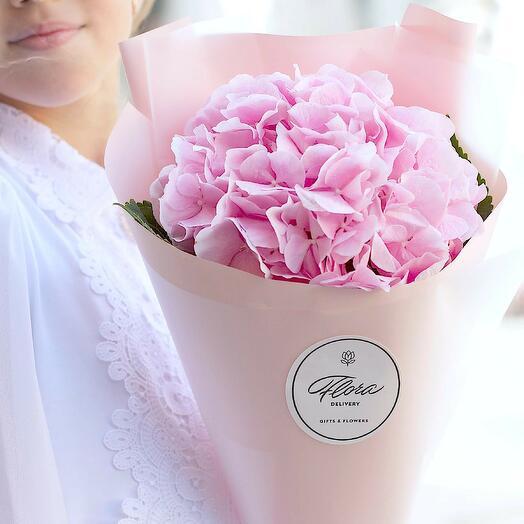 Букет из розовой гортензии в корейской кальке