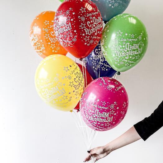 Связка из 7 шаров С Днём Рождения