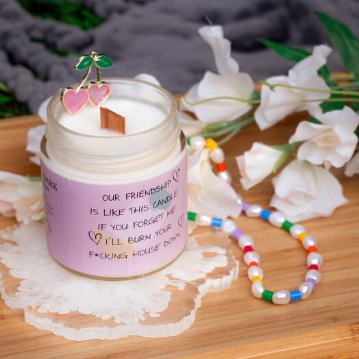 Ароматическая соевая свеча «Our friendship | мандарин, амбра, сандал» с деревянным фитилем + длинные спички, 200мл