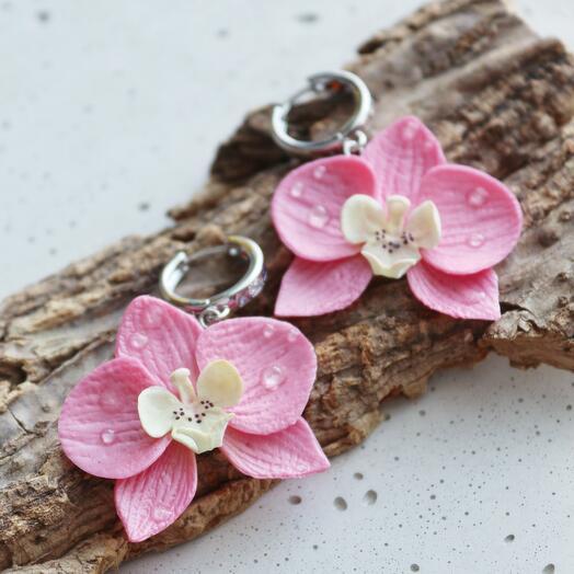 Серьги в виде розовых орхидей