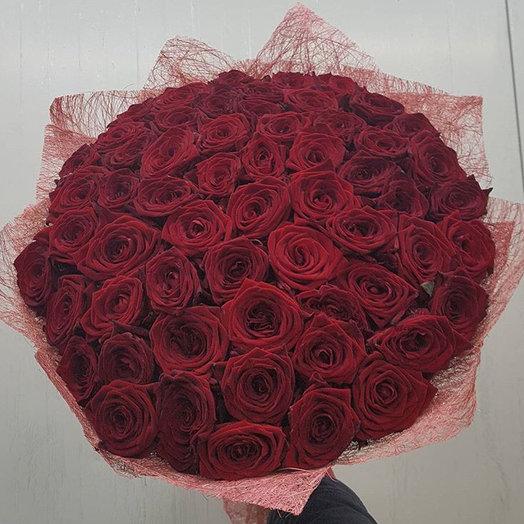 59 красных роз: букеты цветов на заказ Flowwow
