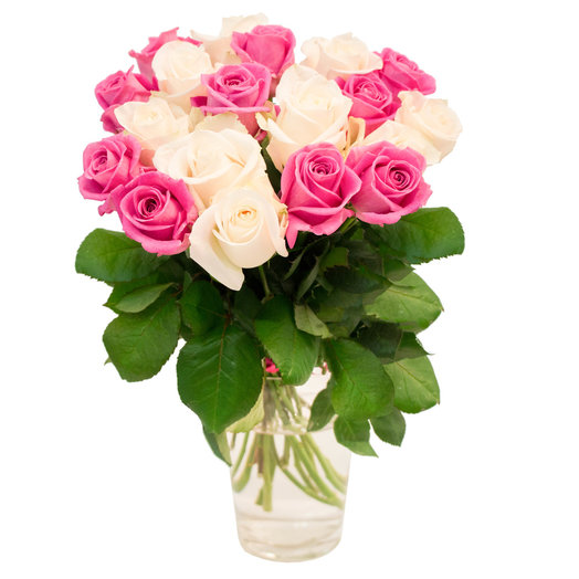 19 бело-розовых роз 50см: букеты цветов на заказ Flowwow