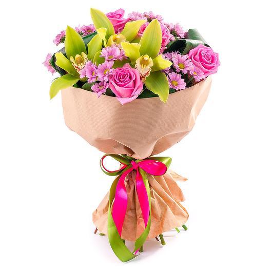 Букет из орхидей, роз и хризантем: букеты цветов на заказ Flowwow