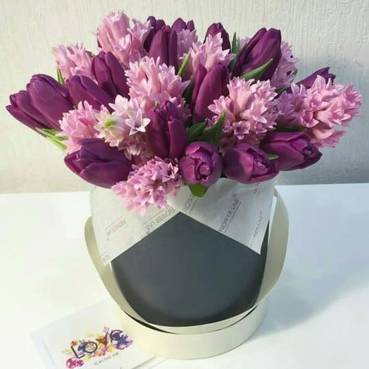Коробка c цветами «Сиреневый туман»: букеты цветов на заказ Flowwow